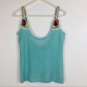 FREE PEOPLE | Blue Flower Tank Top Crop Top